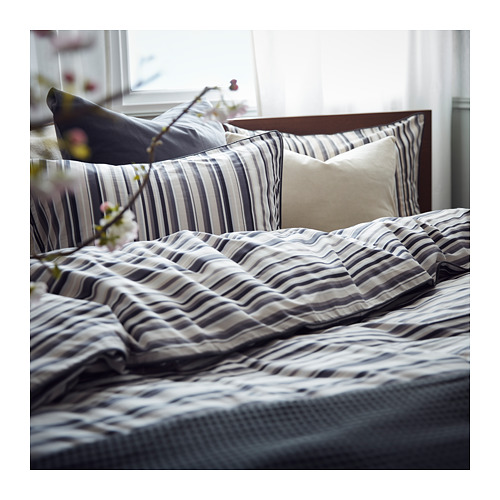 RANDGRÄS quilt cover and 2 pillowcases