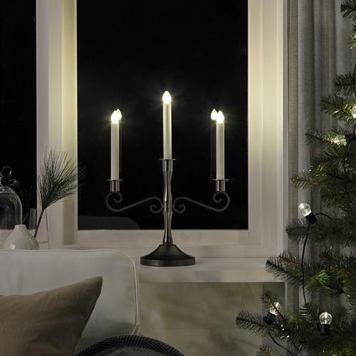 STRÅLA LED svečturis 3svecēm, 34x46 cm, darbojas ar baterijām/melnā krāsā