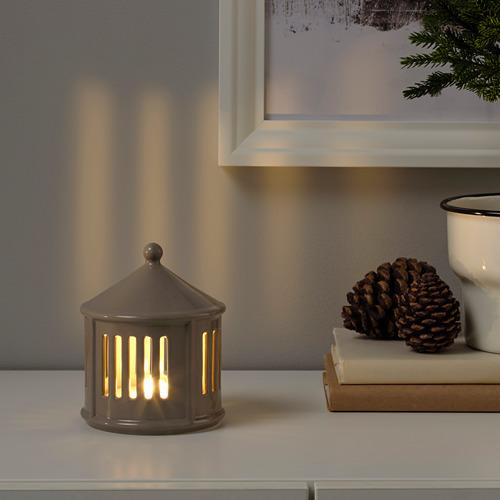 STRÅLA LED galda rotājums, 13x Ø10 cm darbojas ar baterijām/smilškrāsā