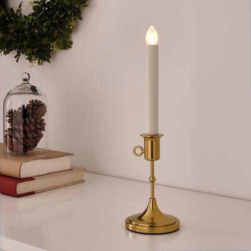 STRÅLA LED svečturis, ar baterijām, 32x Ø9 cm, misiņš