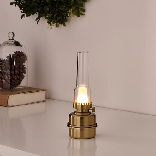 STRÅLA LED galda lampa, 18 cm darbojas ar baterijām/misiņa krāsā