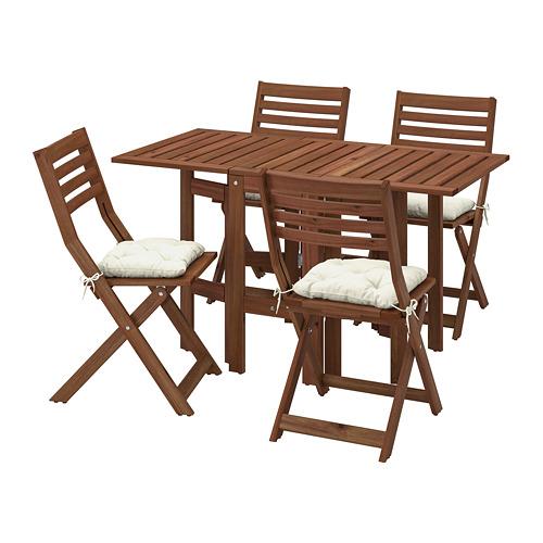 ÄPPLARÖ lauko stalas ir 4 sulanks. kėdės