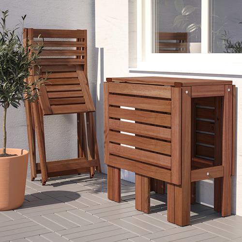 ÄPPLARÖ laud+2 kokkupandavat tooli, väljas