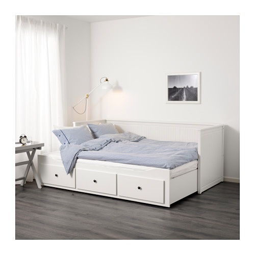 HEMNES day-bed w 3 drawers/2 mattresses