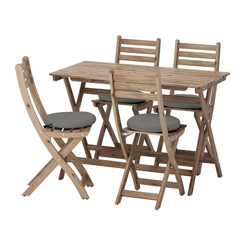 ASKHOLMEN lauko stalas ir 4 sulanks. kėdės