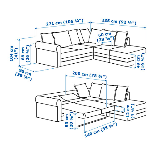 GRÖNLID četrvietīgs stūra guļamdīvāns