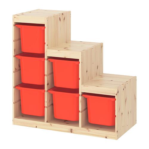 TROFAST plauktu kombinācija, 94x44x91 cm, balti beicēta priede/oranžā krāsā
