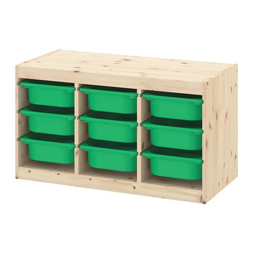 TROFAST plauktu kombinācija ar kastēm, 94x44x52 cm , balti beicēta priede/zaļā krāsā