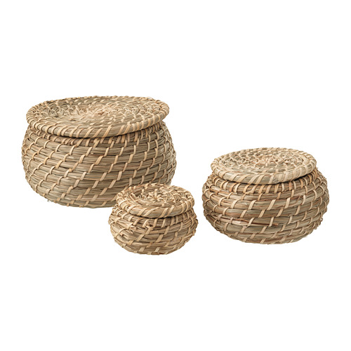 FRYKEN box with lid, set of 3