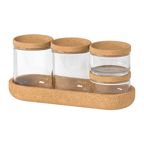 SAXBORGA jar with lid and tray, set of 5
