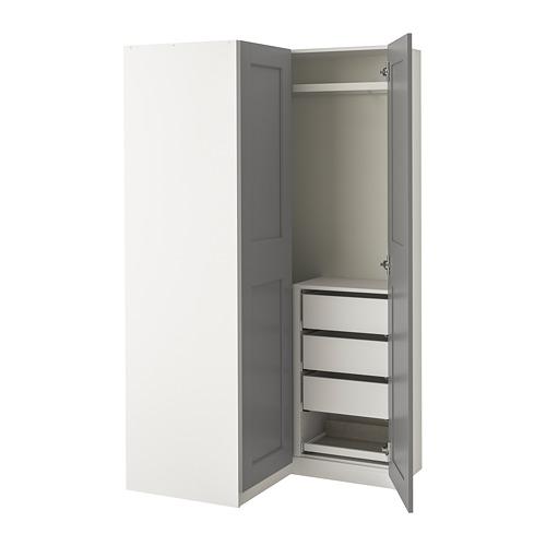PAX/GRIMO skapju iekārta, 201.2 cm,  baltā krāsā/Grimo pelēkā krāsā