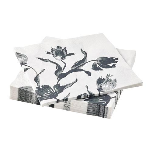 DOFTMINNE papīra salvetes, 33x33 cm, zieda motīvs, 30gb.