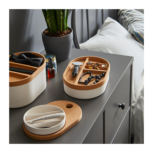 SAXBORGA storage box with mirror lid