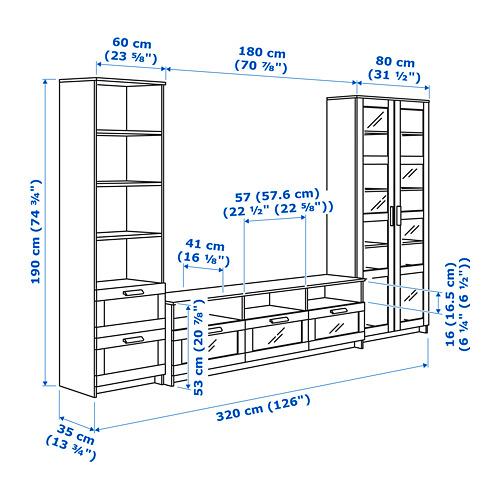BRIMNES шкаф для ТВ, комбин/стеклян дверцы