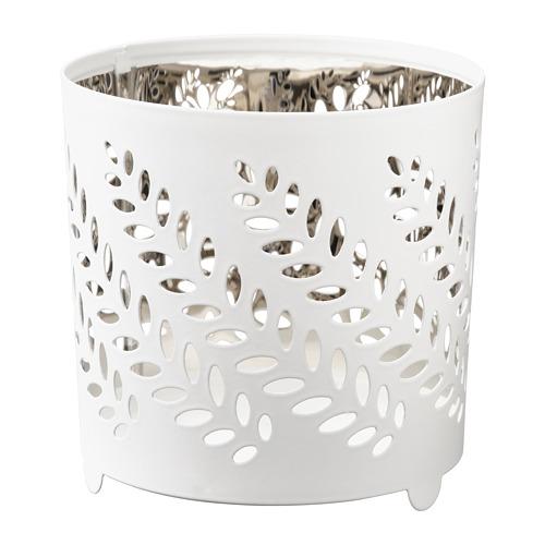STABBIG svečturis tējas svecei,8 cm, baltā krāsā/sudraba krāsā
