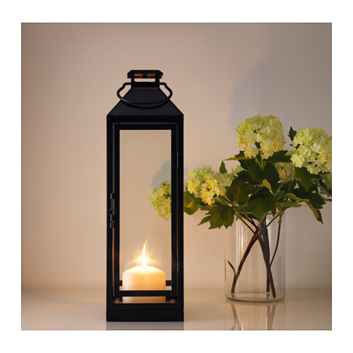 LAGRAD lantern f block candle, in/outdoor