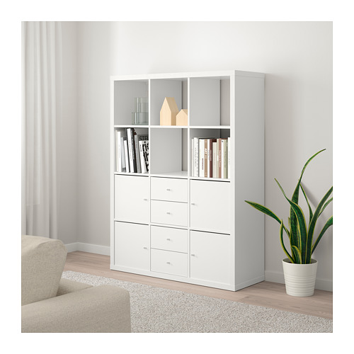 KALLAX shelving unit with 6 inserts