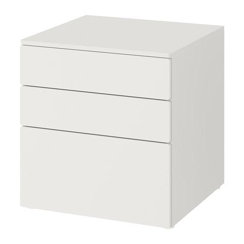 PLATSA/SMÅSTAD, kumode ar 3 atvilktnēm, 60x57x63 cm baltā krāsā/baltā krāsā