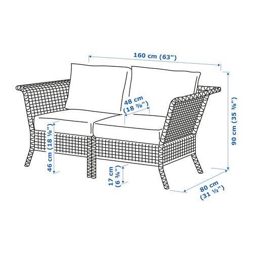 KUNGSHOLMEN dvivietė modulinė lauko sofa