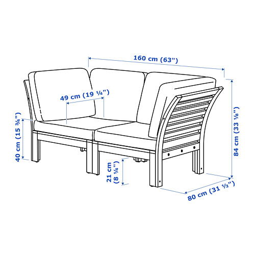 ÄPPLARÖ Divvietīgs moduļu dīvāns, āra