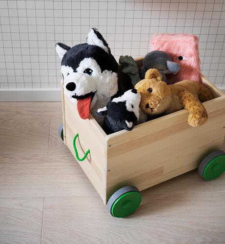 FLISAT rotaļlietu kaste ar ritenīšiem