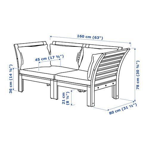 ÄPPLARÖ dvivietė modulinė lauko sofa
