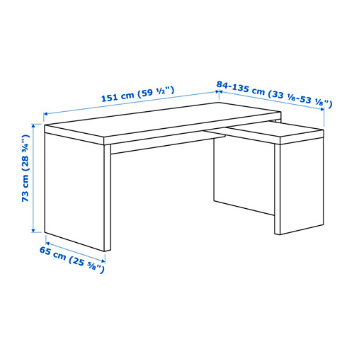 MALM rašomasis stalas su ištrauk. dalimi