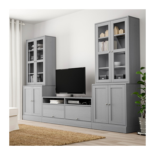 HAVSTA TV baldų derinys, stiklinės durelės