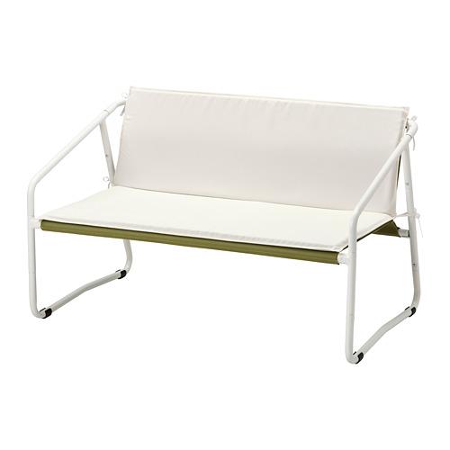 INGMARSÖ divvietīgs dīvāns liet. telpās/ārā, 118x69x69 cm,  baltā krāsā zaļā krāsā/smilškrāsā