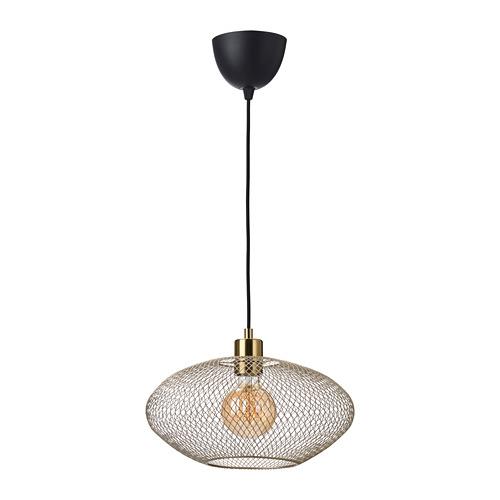 LUFTMASSA/SKAFTET griestu lampa ar spuldzi,18x Ø37 cm, misiņa krāsā