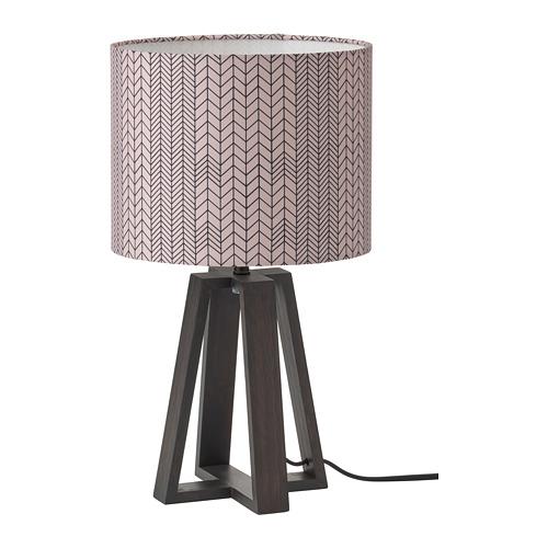 LAKAFORS galda lampa, 40 cm , tumši brūna/koka/tumši rozā melnā krāsā