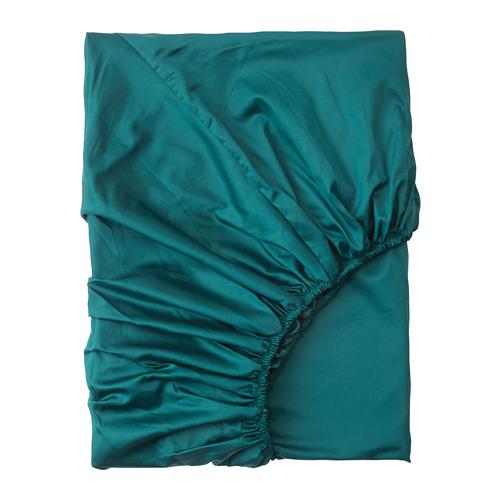 NATTJASMIN palags ar gumiju, 180x200 cm,  tumši zaļā krāsā