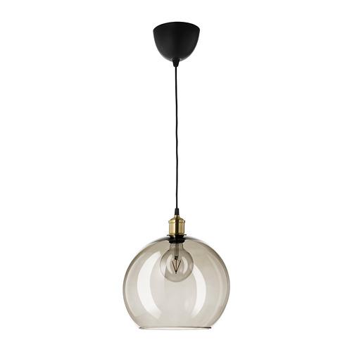 JÄLLBY/JAKOBSBYN iekaramā griestu lampa, 25x Ø30 cm,  dūmots stikls/ar misiņa pārklājumu