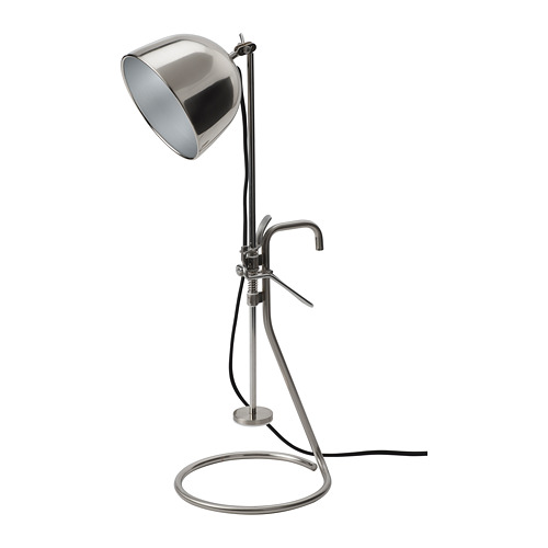 RÅVAROR galda lampa ar fiksatoru, nerūsējošais tērauds