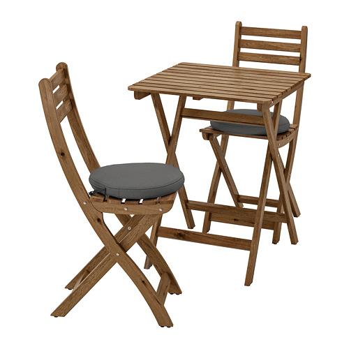 ASKHOLMEN lauko stalas ir 2 sulankst. kėdės