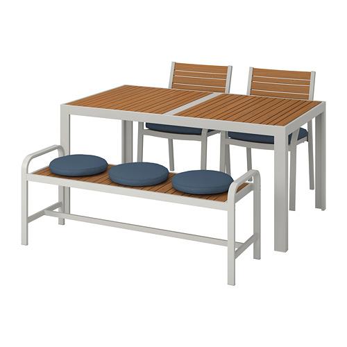 SJÄLLAND galds+2 krēsli+ sols, āra