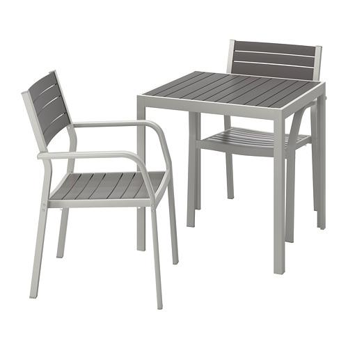 SJÄLLAND laud+2 käsitugedega tooli, õue