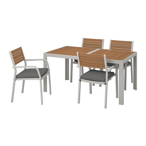 SJÄLLAND galds+4 krēsli ar r. balst., āra