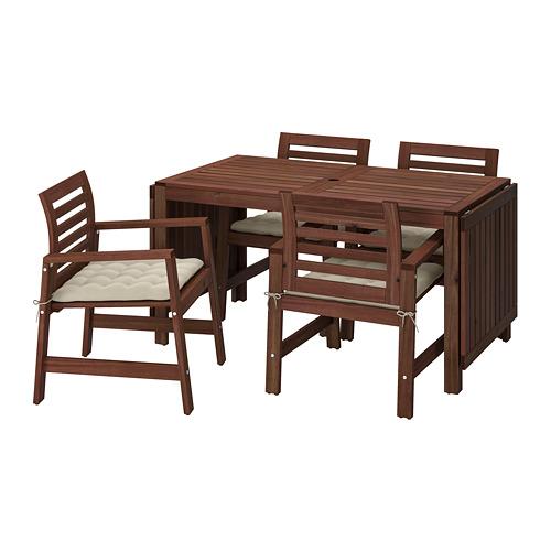 ÄPPLARÖ galds+4 krēsli ar r. balst., āra