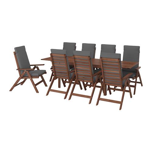 ÄPPLARÖ lauko stalas+8 atlošiamosios kėdės