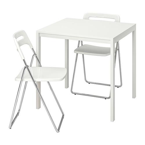 NISSE/MELLTORP galds un 2 saliekami krēsli