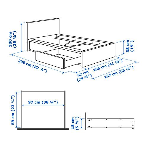 MALM gultas rāmis ar 2 kastēm, augsts
