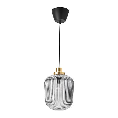 SOLKLINT iekaramā griestu lampa, 22 cm,  misiņš/pelēks stikls