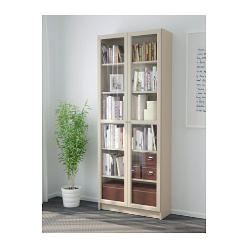 BILLY knygų spinta su stikl. durimis