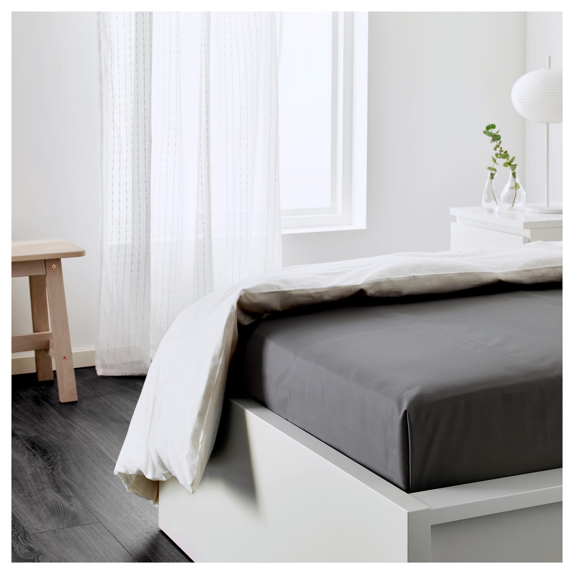 IKEA ULLVIDE SINGLE FITTED SHEET DARK GREY COTTON LYOCELL BLEND BEDDING