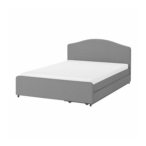 HAUGA polsterēta gulta ar 2 atvilktnēm, 140x200 cm,  Vissle pelēkā krāsā