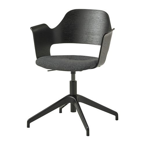 FJÄLLBERGET biroja krēsls, 71x71 cm,  melni beicēts oškoka finieris/Gunnared tumši pelēkā krāsā