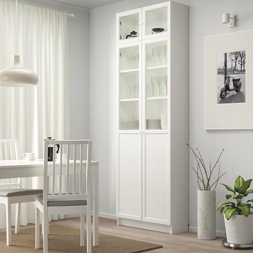 BILLY bookcase w hght ext ut/pnl/glss drs
