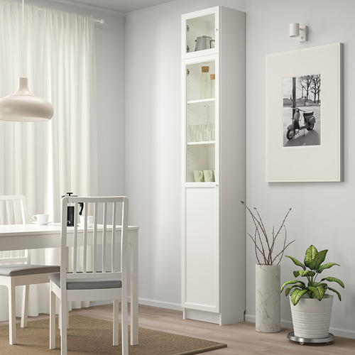 BILLY/OXBERG bookcase w hght ext ut/pnl/glss drs