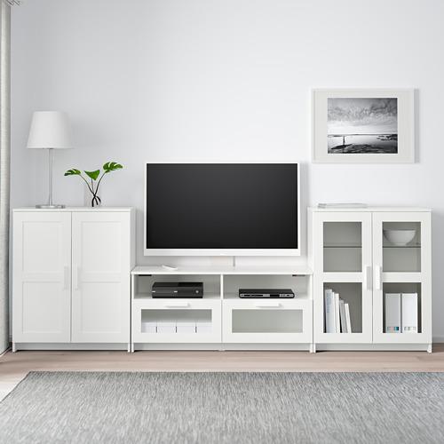 BRIMNES TV baldų derinys, stiklinės durelės